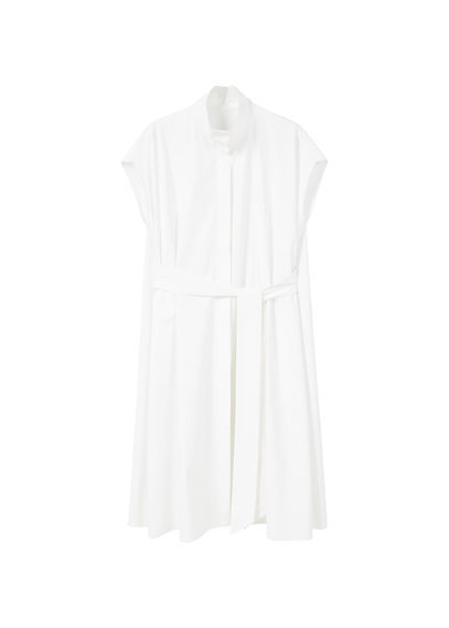 Poplin Shirt Dress - style: shirt; neckline: shirt collar/peter pan/zip with opening; sleeve style: capped; pattern: plain; waist detail: belted waist/tie at waist/drawstring; predominant colour: white; occasions: casual, creative work; length: just above the knee; fit: body skimming; fibres: cotton - 100%; sleeve length: short sleeve; texture group: cotton feel fabrics; pattern type: fabric; wardrobe: basic; season: a/w 2016