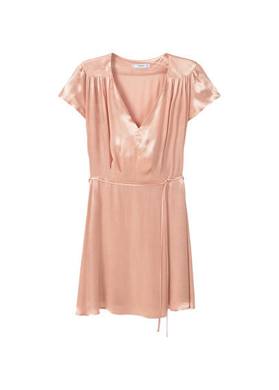 Belt Satin Dress - style: shift; length: mid thigh; neckline: v-neck; pattern: plain; waist detail: belted waist/tie at waist/drawstring; predominant colour: pink; occasions: evening; fit: body skimming; fibres: viscose/rayon - 100%; sleeve length: short sleeve; sleeve style: standard; texture group: structured shiny - satin/tafetta/silk etc.; pattern type: fabric; season: a/w 2016; wardrobe: event