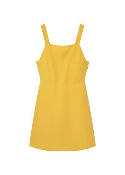 Side Slit Dress - style: shift; sleeve style: standard vest straps/shoulder straps; fit: tailored/fitted; pattern: plain; predominant colour: yellow; occasions: casual; length: just above the knee; fibres: polyester/polyamide - 100%; sleeve length: sleeveless; neckline: medium square neck; pattern type: fabric; texture group: woven light midweight; season: a/w 2016; wardrobe: highlight