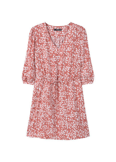 Floral Print Flowy Dress - style: shift; length: mid thigh; neckline: v-neck; waist detail: belted waist/tie at waist/drawstring; secondary colour: white; predominant colour: pink; occasions: casual; fit: body skimming; fibres: polyester/polyamide - 100%; sleeve length: 3/4 length; sleeve style: standard; pattern type: fabric; pattern: florals; texture group: other - light to midweight; multicoloured: multicoloured; trends: vivid mix; season: a/w 2016; wardrobe: highlight