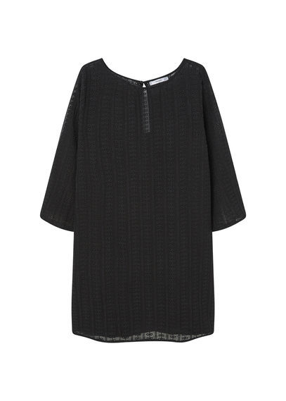 Open Work Dress - style: smock; neckline: round neck; fit: loose; pattern: plain; predominant colour: black; occasions: evening; length: just above the knee; fibres: polyester/polyamide - 100%; sleeve length: 3/4 length; sleeve style: standard; texture group: lace; pattern type: fabric; embellishment: lace; season: a/w 2016