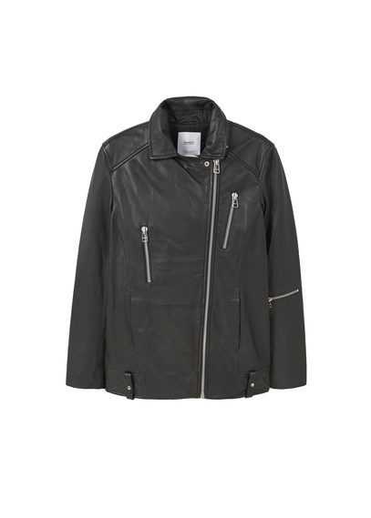 Oversize Leather Biker - pattern: plain; style: biker; collar: asymmetric biker; predominant colour: black; occasions: casual; length: standard; fit: tailored/fitted; fibres: leather - 100%; sleeve length: long sleeve; sleeve style: standard; texture group: leather; collar break: high/illusion of break when open; pattern type: fabric; wardrobe: basic; season: a/w 2016
