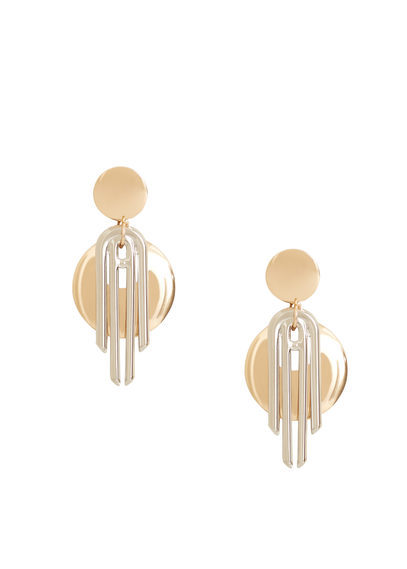 Metal Pendant Earrings - predominant colour: gold; occasions: casual, evening, creative work; style: drop; length: mid; size: standard; material: chain/metal; fastening: pierced; finish: metallic; season: a/w 2016; wardrobe: highlight