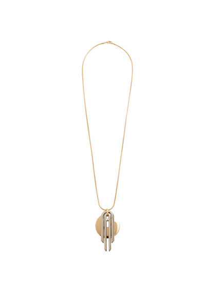 Geometric Pendant Necklace - predominant colour: gold; occasions: casual, creative work; style: pendant; length: mid; size: standard; material: chain/metal; finish: metallic; wardrobe: basic; season: a/w 2016