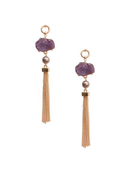 Multiple Chain Earrings - predominant colour: purple; secondary colour: gold; occasions: evening, occasion; style: drop; length: long; size: standard; material: chain/metal; fastening: pierced; finish: metallic; embellishment: jewels/stone; season: a/w 2016; wardrobe: event