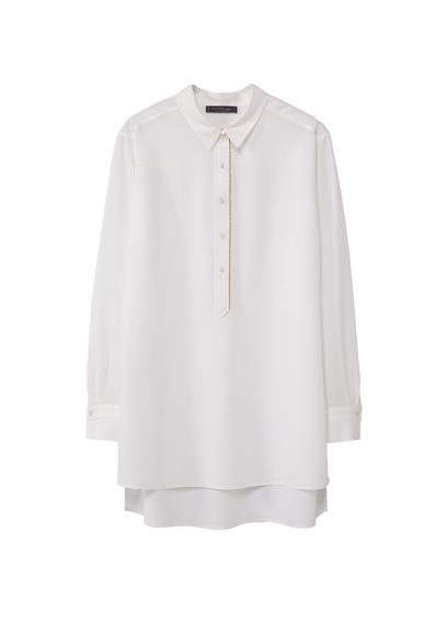 Chain Flowy Blouse - neckline: shirt collar/peter pan/zip with opening; pattern: plain; length: below the bottom; style: blouse; predominant colour: white; occasions: work; fibres: polyester/polyamide - 100%; fit: body skimming; sleeve length: long sleeve; sleeve style: standard; texture group: crepes; pattern type: fabric; wardrobe: basic; season: a/w 2016