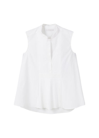 Pleated Poplin Blouse - pattern: plain; sleeve style: sleeveless; style: shirt; predominant colour: white; occasions: casual; length: standard; neckline: collarstand; fibres: cotton - 100%; fit: body skimming; sleeve length: sleeveless; texture group: cotton feel fabrics; pattern type: fabric; wardrobe: basic; season: a/w 2016