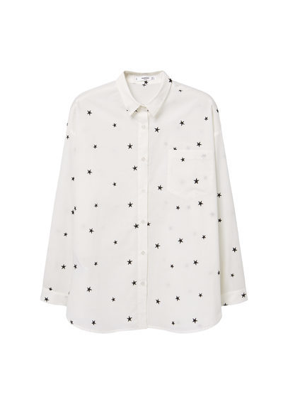 Printed Cotton Shirt - neckline: shirt collar/peter pan/zip with opening; style: shirt; predominant colour: ivory/cream; secondary colour: black; occasions: casual, creative work; length: standard; fibres: cotton - 100%; fit: straight cut; sleeve length: long sleeve; sleeve style: standard; trends: monochrome; pattern type: fabric; pattern: patterned/print; texture group: other - light to midweight; season: a/w 2016; wardrobe: highlight