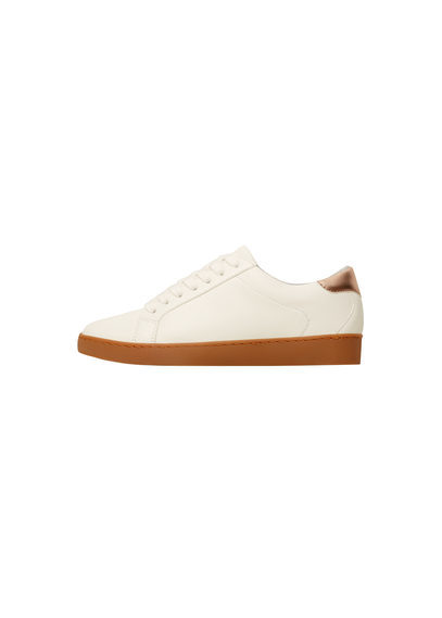 Contrast Appliqué Sneakers - predominant colour: ivory/cream; occasions: casual, activity; material: fabric; heel height: flat; toe: round toe; style: trainers; finish: plain; pattern: plain; season: a/w 2016