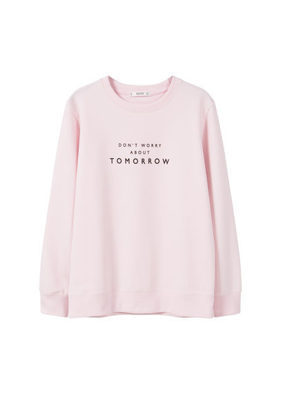 Message Cotton Sweatshirt - style: sweat top; predominant colour: blush; occasions: casual; length: standard; fibres: cotton - mix; fit: loose; neckline: crew; sleeve length: long sleeve; sleeve style: standard; pattern type: fabric; texture group: jersey - stretchy/drapey; pattern: graphic/slogan; season: a/w 2016; wardrobe: highlight