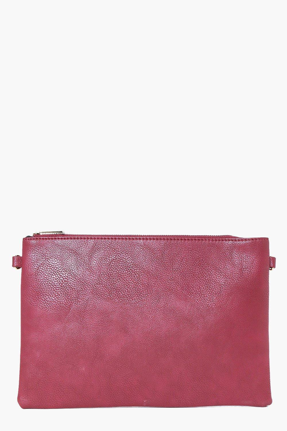 Zip Top Clutch Bag Berry - predominant colour: hot pink; occasions: evening, occasion; type of pattern: standard; style: clutch; length: across body/long; size: standard; material: faux leather; pattern: plain; finish: plain; season: a/w 2016; wardrobe: event