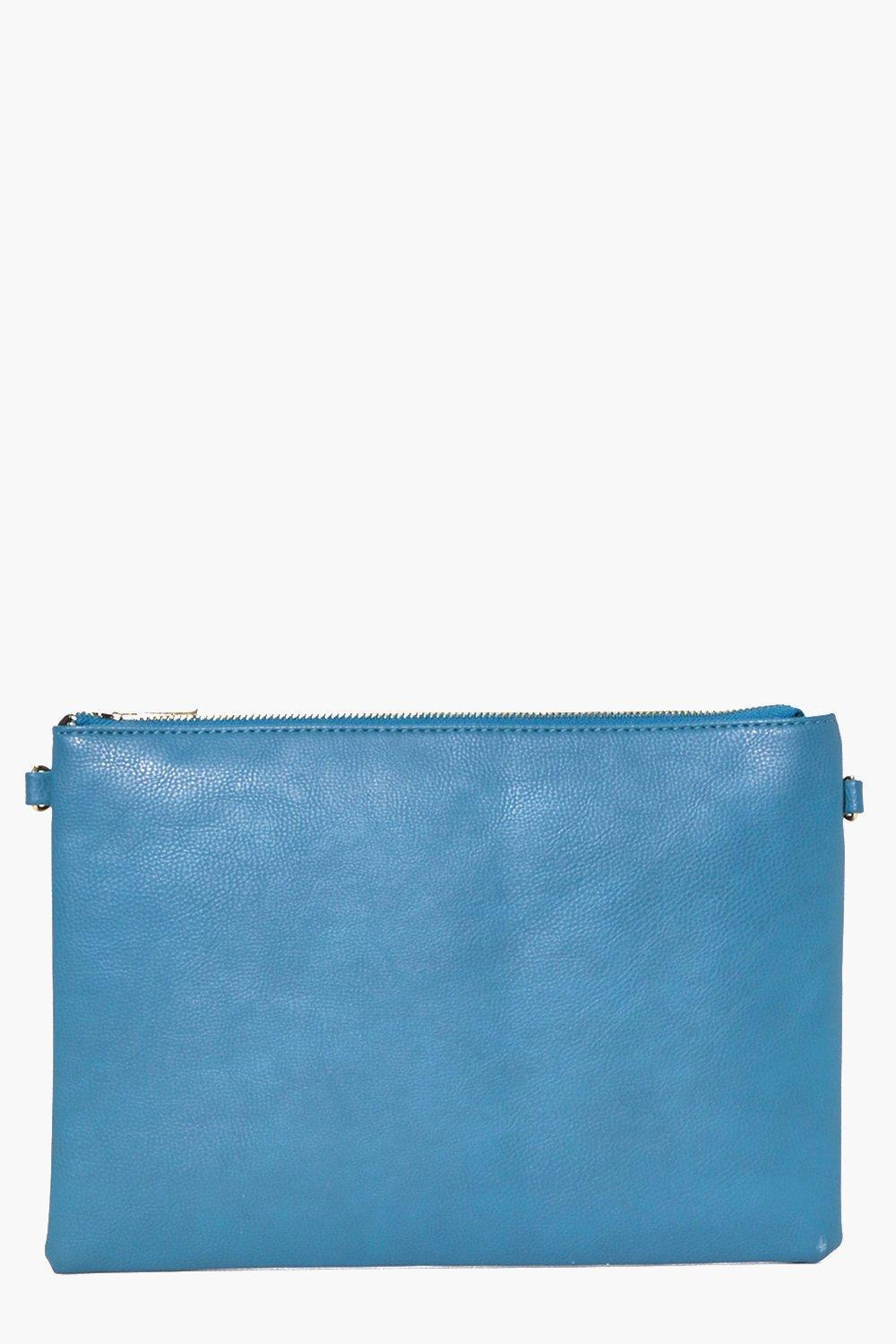 Zip Top Clutch Bag Indigo - predominant colour: denim; occasions: evening, occasion; type of pattern: standard; style: clutch; length: hand carry; size: standard; material: faux leather; pattern: plain; finish: plain; season: a/w 2016; wardrobe: event