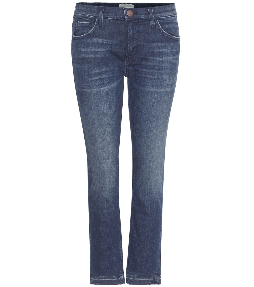 The Cropped Straight Jeans - style: straight leg; length: standard; pattern: plain; pocket detail: traditional 5 pocket; waist: mid/regular rise; predominant colour: denim; occasions: casual; fibres: cotton - stretch; jeans detail: whiskering, shading down centre of thigh; texture group: denim; pattern type: fabric; wardrobe: basic; season: a/w 2016