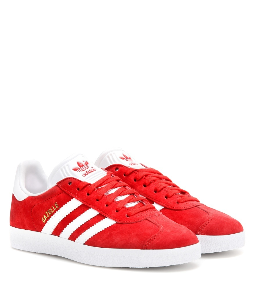 Gazelle Suede Sneakers - secondary colour: white; predominant colour: true red; occasions: casual, activity; material: suede; heel height: flat; toe: round toe; style: trainers; finish: plain; pattern: striped; season: a/w 2016