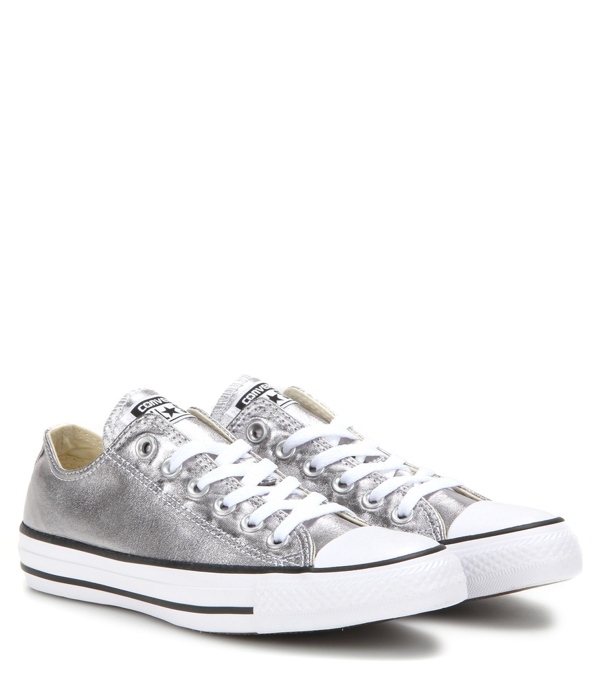 Chuck Taylor All Star Ox Metallic Sneakers - predominant colour: silver; occasions: casual, activity; material: fabric; heel height: flat; toe: round toe; style: trainers; finish: metallic; pattern: plain; season: a/w 2016