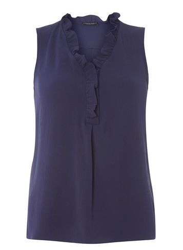 Womens Navy Bubble Frill Top Blue - neckline: v-neck; pattern: plain; sleeve style: sleeveless; predominant colour: navy; occasions: casual; length: standard; style: top; fibres: polyester/polyamide - stretch; fit: body skimming; sleeve length: sleeveless; pattern type: fabric; texture group: other - light to midweight; wardrobe: basic; season: a/w 2016