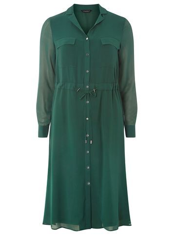 Womens Chiffon Shirt Midi Dress Green - style: shirt; length: below the knee; neckline: shirt collar/peter pan/zip with opening; fit: fitted at waist; pattern: plain; waist detail: belted waist/tie at waist/drawstring; predominant colour: dark green; occasions: casual, creative work; fibres: polyester/polyamide - 100%; sleeve length: long sleeve; sleeve style: standard; texture group: sheer fabrics/chiffon/organza etc.; pattern type: fabric; season: a/w 2016; wardrobe: highlight