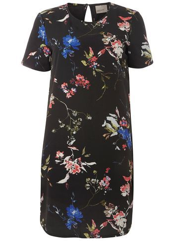 Womens **Vero Moda Black Floral Dress Black - style: shift; length: mid thigh; secondary colour: royal blue; predominant colour: black; occasions: casual; fit: body skimming; fibres: polyester/polyamide - 100%; neckline: crew; sleeve length: short sleeve; sleeve style: standard; texture group: crepes; pattern type: fabric; pattern size: big & busy; pattern: florals; multicoloured: multicoloured; season: a/w 2016; wardrobe: highlight
