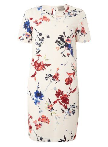 Womens **Vero Moda White Floral Dress White - style: shift; length: mid thigh; predominant colour: ivory/cream; secondary colour: royal blue; fit: body skimming; fibres: polyester/polyamide - 100%; occasions: occasion, creative work; neckline: crew; sleeve length: short sleeve; sleeve style: standard; pattern type: fabric; pattern size: standard; pattern: florals; texture group: other - light to midweight; multicoloured: multicoloured; season: a/w 2016; wardrobe: highlight