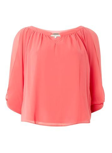 Womens **Billie & Blossom Petite Coral Trim Blouse Coral - neckline: round neck; pattern: plain; predominant colour: coral; occasions: casual; length: standard; style: top; fibres: polyester/polyamide - 100%; fit: body skimming; sleeve length: 3/4 length; sleeve style: standard; texture group: sheer fabrics/chiffon/organza etc.; pattern type: fabric; season: a/w 2016; wardrobe: highlight