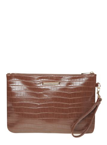 Womens Tan Faux Croc Wristlet Clutch Bag Brown - predominant colour: chocolate brown; occasions: evening, occasion; type of pattern: standard; style: clutch; length: hand carry; size: small; material: faux leather; pattern: animal print; finish: fluorescent; season: a/w 2016; wardrobe: event