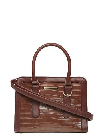 Womens Tan Faux Croc Boxy Tote Bag Brown - predominant colour: chocolate brown; occasions: casual, work, creative work; type of pattern: heavy; style: tote; length: handle; size: standard; material: faux leather; pattern: animal print; finish: plain; season: a/w 2016; wardrobe: highlight