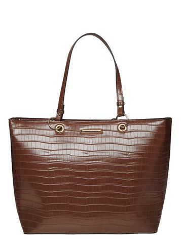 Womens Tan Faux Croc Landscape Tote Bag Brown - predominant colour: chocolate brown; occasions: casual, work, creative work; type of pattern: heavy; style: tote; length: handle; size: standard; material: faux leather; pattern: animal print; finish: plain; season: a/w 2016; wardrobe: highlight