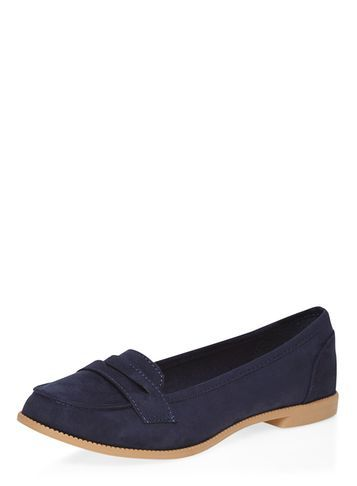 Womens Navy 'lily' Tab Loafer Shoes Blue - predominant colour: navy; occasions: casual, work, creative work; material: fabric; heel height: flat; toe: round toe; style: loafers; finish: plain; pattern: plain; wardrobe: basic; season: a/w 2016