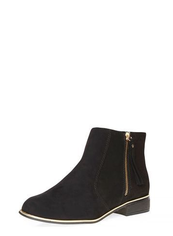 Womens Black 'merci' Ankle Boots Black - predominant colour: black; occasions: casual, creative work; material: suede; heel height: flat; heel: block; toe: round toe; boot length: ankle boot; style: standard; finish: plain; pattern: plain; wardrobe: basic; season: a/w 2016