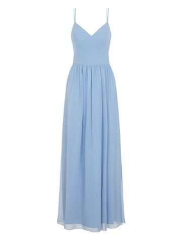 Womens **Chi Chi London Cami Maxi Dress Blue - neckline: low v-neck; sleeve style: spaghetti straps; pattern: plain; style: maxi dress; predominant colour: pale blue; occasions: evening; length: floor length; fit: body skimming; fibres: polyester/polyamide - 100%; sleeve length: sleeveless; texture group: sheer fabrics/chiffon/organza etc.; pattern type: fabric; season: a/w 2016; wardrobe: event