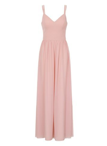 Womens **Chi Chi London Cami Maxi Dress Pink - neckline: low v-neck; pattern: plain; sleeve style: sleeveless; style: maxi dress; predominant colour: blush; occasions: evening; length: floor length; fit: body skimming; fibres: polyester/polyamide - 100%; sleeve length: sleeveless; texture group: crepes; pattern type: fabric; season: a/w 2016; wardrobe: event