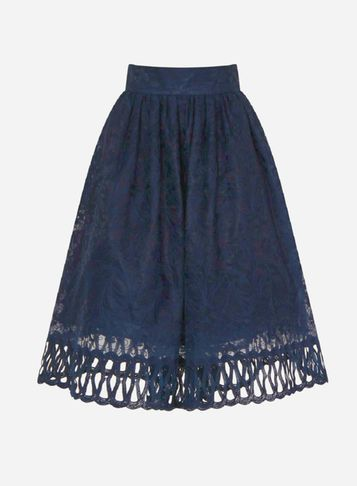 Womens **Chi Chi London Laser Cut Midi Skirt Blue - length: below the knee; pattern: plain; style: full/prom skirt; fit: loose/voluminous; waist: high rise; predominant colour: navy; fibres: polyester/polyamide - 100%; occasions: occasion, creative work; hip detail: soft pleats at hip/draping at hip/flared at hip; texture group: sheer fabrics/chiffon/organza etc.; pattern type: fabric; wardrobe: basic; season: a/w 2016