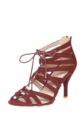 Womens Wide Fit 'winns' Wine Sandals Red - predominant colour: true red; occasions: evening, occasion; material: suede; heel height: mid; ankle detail: ankle tie; heel: stiletto; toe: open toe/peeptoe; style: strappy; finish: plain; pattern: plain; season: a/w 2016; wardrobe: event