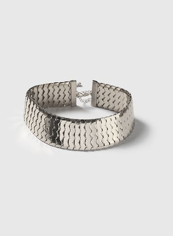 Womens Silver Thick Metal Choker Silver - predominant colour: silver; occasions: evening, occasion, creative work; style: choker/collar/torque; length: choker; size: large/oversized; material: chain/metal; finish: metallic; season: a/w 2016; wardrobe: highlight