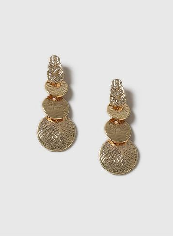 Womens Textured Disc Drop Earrings Gold - predominant colour: gold; occasions: evening, occasion, creative work; style: drop; length: long; size: large/oversized; material: chain/metal; fastening: pierced; finish: metallic; season: a/w 2016; wardrobe: highlight