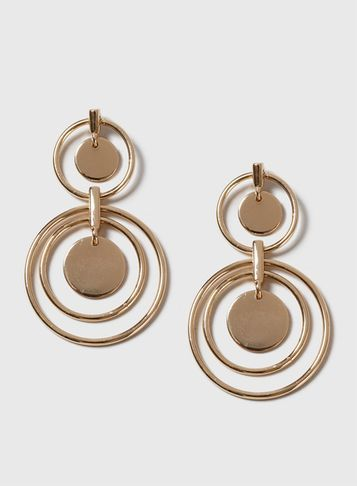 Womens Gold Circle Drop Earrings Gold - predominant colour: gold; occasions: evening, occasion, creative work; style: drop; length: mid; size: large/oversized; material: chain/metal; fastening: pierced; finish: metallic; season: a/w 2016; wardrobe: highlight