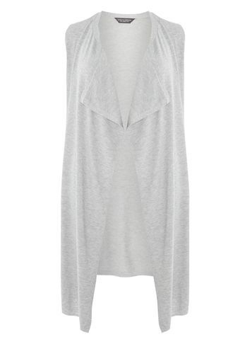 Womens Grey Sleeveless Cardigan Grey - pattern: plain; sleeve style: sleeveless; neckline: shawl; style: open front; predominant colour: light grey; occasions: casual, creative work; length: calf length; fibres: polyester/polyamide - mix; fit: loose; hip detail: dip hem; sleeve length: sleeveless; texture group: knits/crochet; pattern type: knitted - fine stitch; season: a/w 2016