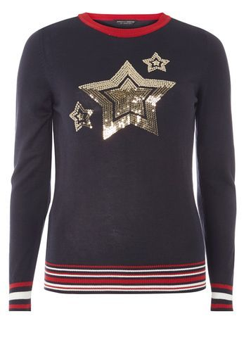 Womens Navy Sequin Star Motif Jumper Blue - neckline: round neck; style: standard; predominant colour: navy; secondary colour: gold; occasions: casual, creative work; length: standard; fibres: acrylic - mix; fit: standard fit; sleeve length: long sleeve; sleeve style: standard; texture group: knits/crochet; pattern type: knitted - fine stitch; pattern: patterned/print; embellishment: sequins; season: a/w 2016; wardrobe: highlight