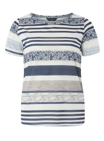Womens Blue And Ivory Textured Stripe Tee Blue - neckline: round neck; pattern: horizontal stripes; style: t-shirt; predominant colour: denim; occasions: casual, creative work; length: standard; fibres: polyester/polyamide - 100%; fit: body skimming; sleeve length: half sleeve; sleeve style: standard; pattern type: fabric; texture group: jersey - stretchy/drapey; pattern size: big & busy (top); season: a/w 2016; wardrobe: highlight