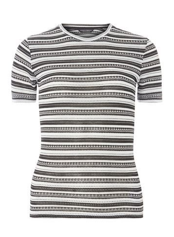 Womens Black And Ivory Stripe Knitted Tee Black - pattern: horizontal stripes; style: t-shirt; secondary colour: white; predominant colour: black; occasions: casual; length: standard; fibres: polyester/polyamide - mix; fit: body skimming; neckline: crew; sleeve length: short sleeve; sleeve style: standard; pattern type: fabric; texture group: jersey - stretchy/drapey; pattern size: big & busy (top); season: a/w 2016