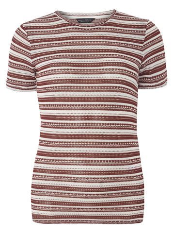 Womens Berry And Ivory Stripe Knitted Tee Red - pattern: horizontal stripes; style: t-shirt; predominant colour: true red; secondary colour: stone; occasions: casual; length: standard; fibres: polyester/polyamide - mix; fit: body skimming; neckline: crew; sleeve length: short sleeve; sleeve style: standard; pattern type: fabric; texture group: jersey - stretchy/drapey; multicoloured: multicoloured; season: a/w 2016; wardrobe: highlight