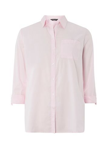 Womens Pink Clean Shirt Pink - neckline: shirt collar/peter pan/zip with opening; pattern: plain; style: shirt; predominant colour: blush; occasions: casual; length: standard; fibres: cotton - 100%; fit: body skimming; sleeve length: 3/4 length; sleeve style: standard; texture group: cotton feel fabrics; pattern type: fabric; wardrobe: basic; season: a/w 2016