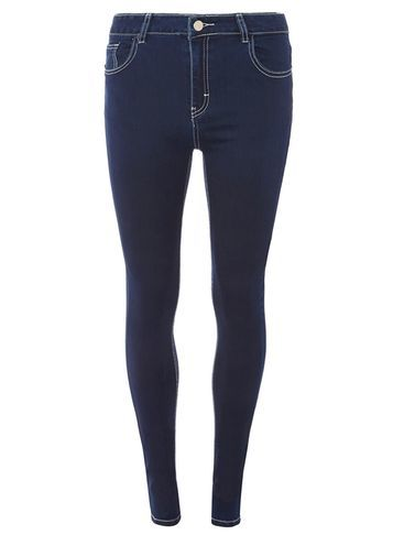 Womens Indigo Premium 'bailey' Ultra Stretch Skinny Jeans Blue - style: skinny leg; length: standard; pattern: plain; pocket detail: traditional 5 pocket; waist: mid/regular rise; predominant colour: navy; occasions: casual; fibres: cotton - stretch; jeans detail: dark wash; texture group: denim; pattern type: fabric; season: a/w 2016