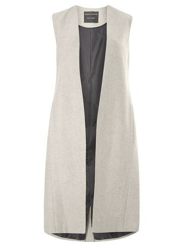 Womens Grey Sleeveless Coat Grey - pattern: plain; sleeve style: sleeveless; collar: round collar/collarless; style: single breasted; length: mid thigh; predominant colour: ivory/cream; occasions: casual, creative work; fit: tailored/fitted; fibres: polyester/polyamide - mix; sleeve length: sleeveless; collar break: low/open; pattern type: fabric; texture group: woven bulky/heavy; season: a/w 2016