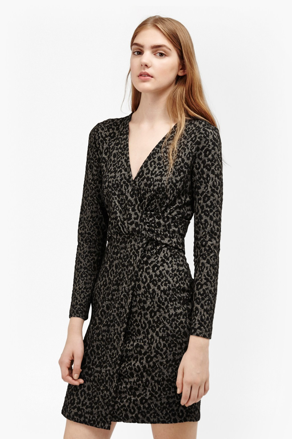 Cheetah Jacquard Wrap Front Dress Black/Gold Multi - style: faux wrap/wrap; length: mid thigh; neckline: low v-neck; fit: tailored/fitted; predominant colour: stone; secondary colour: black; occasions: evening, creative work; fibres: polyester/polyamide - 100%; sleeve length: long sleeve; sleeve style: standard; pattern type: fabric; pattern size: standard; pattern: animal print; texture group: brocade/jacquard; season: a/w 2016; wardrobe: highlight