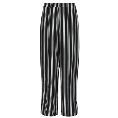 Stripe Print Wide Leg Trousers Black - pattern: striped; waist: mid/regular rise; secondary colour: mid grey; predominant colour: black; occasions: casual; length: ankle length; fibres: viscose/rayon - 100%; trends: monochrome; texture group: crepes; fit: wide leg; pattern type: fabric; style: standard; multicoloured: multicoloured; season: a/w 2016; wardrobe: highlight