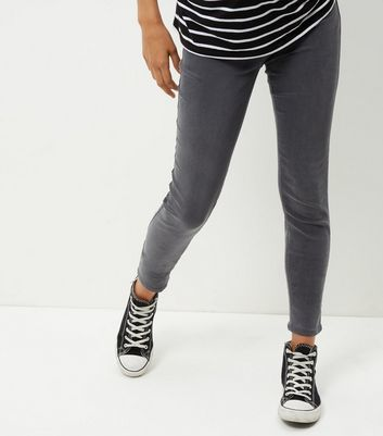 Maternity Grey Over Bump Jeggings - length: standard; pattern: plain; style: leggings; waist: mid/regular rise; predominant colour: mid grey; occasions: casual, creative work; fibres: cotton - stretch; texture group: denim; fit: skinny/tight leg; pattern type: fabric; wardrobe: basic; season: a/w 2016