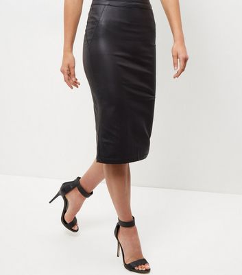 Black Leather Look Pencil Skirt - length: below the knee; pattern: plain; style: pencil; fit: tailored/fitted; waist: high rise; predominant colour: black; occasions: evening, creative work; fibres: leather - 100%; texture group: leather; pattern type: fabric; season: a/w 2016; wardrobe: highlight