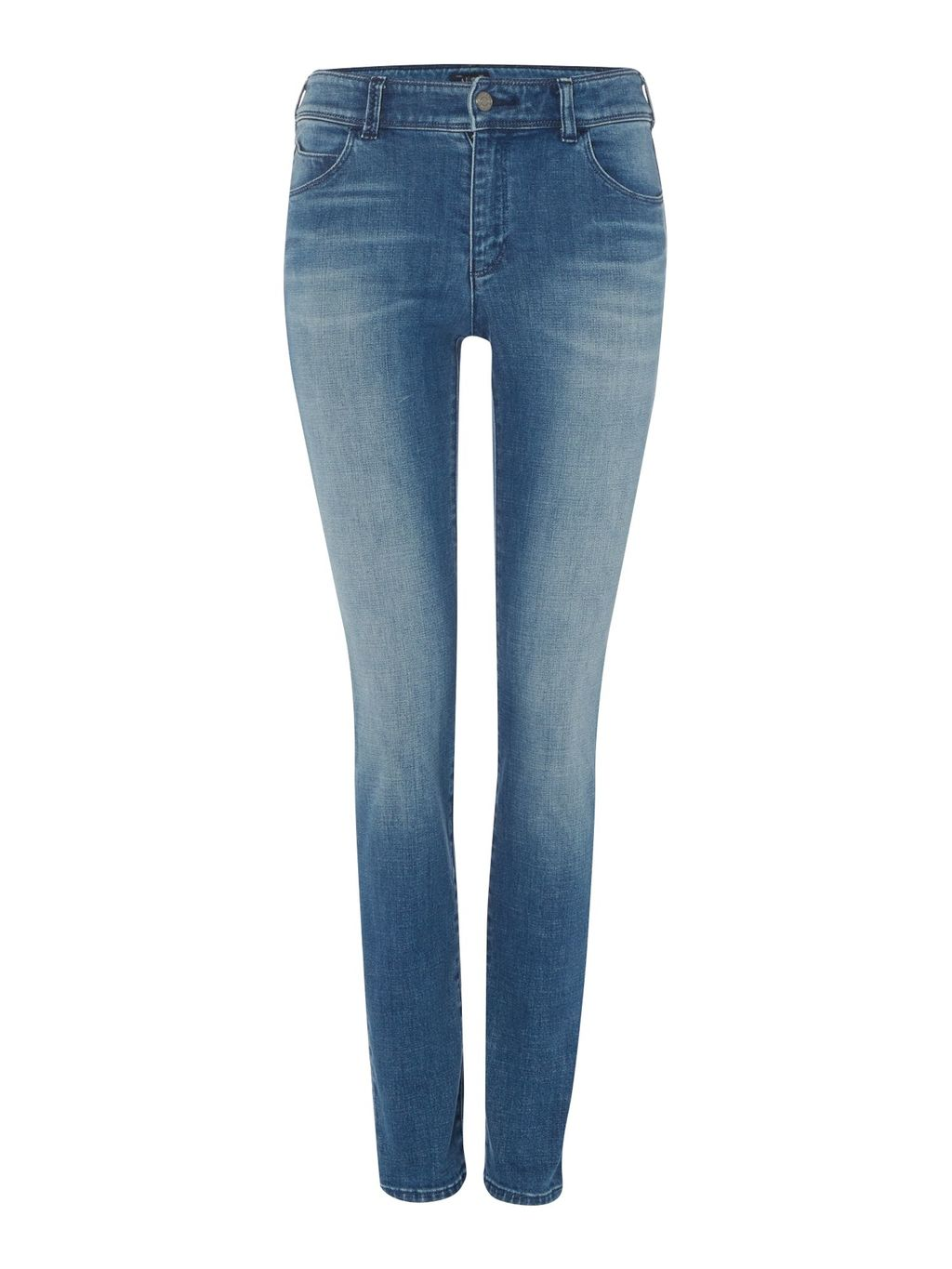 J20 Lilac High Rise Super Skinny, Denim Mid Wash - style: skinny leg; length: standard; pattern: plain; pocket detail: traditional 5 pocket; waist: mid/regular rise; predominant colour: denim; occasions: casual; fibres: cotton - stretch; jeans detail: shading down centre of thigh; texture group: denim; pattern type: fabric; wardrobe: basic; season: a/w 2016