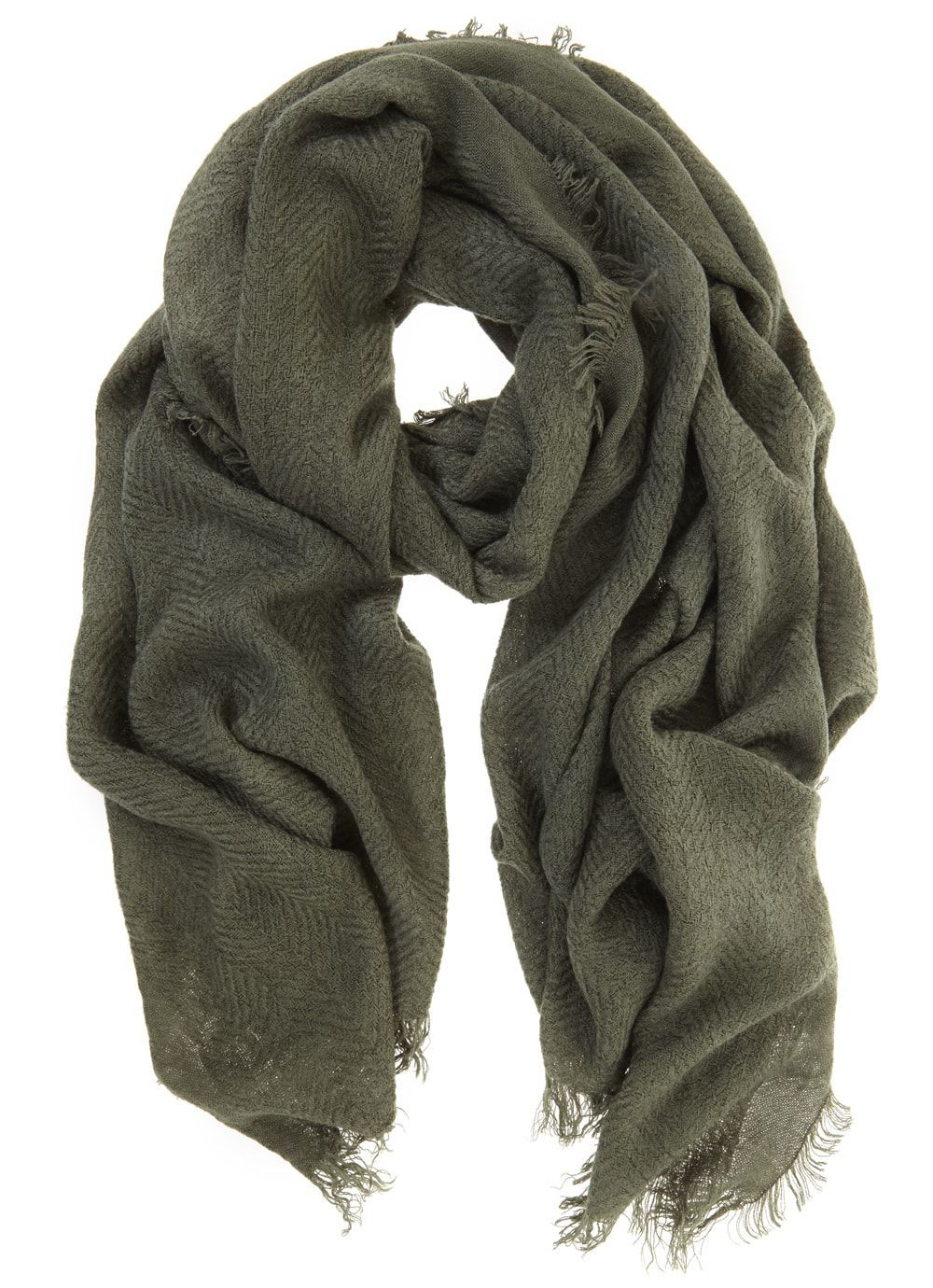 Khaki Plain Texture Scarf, Green - predominant colour: khaki; occasions: casual; type of pattern: standard; style: regular; size: standard; material: fabric; pattern: plain; wardrobe: basic; season: a/w 2016